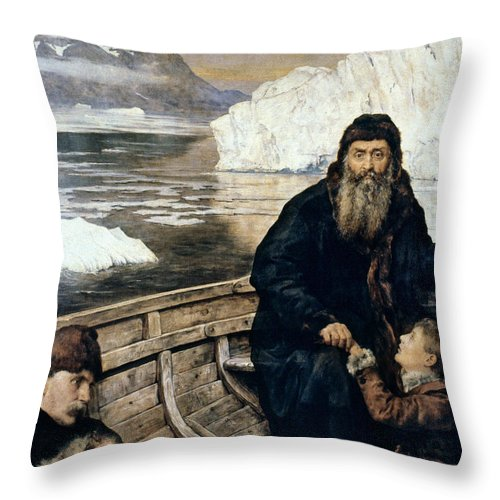 1611 Throw Pillow featuring the painting Henry Hudson And Son by Granger