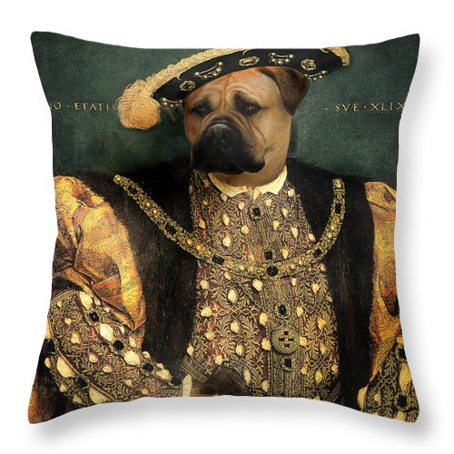 Mastiff Throw Pillow featuring the digital art Henry VIII as a Mastiff by Galen Hazelhofer
