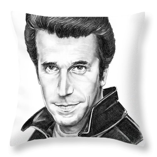 Portrait Throw Pillow featuring the drawing Henry Winkler The Fonz by Murphy Elliott