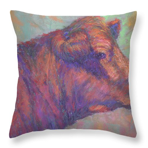 Farm Animals Throw Pillow featuring the painting Henry's Red Angus by Susan Williamson