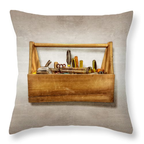 Box Throw Pillow featuring the photograph Henry's Toolbox by YoPedro