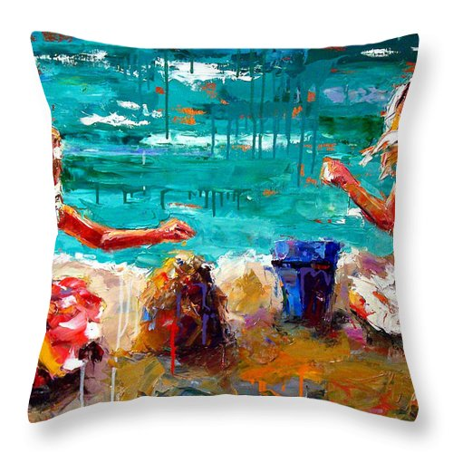 Seascape Throw Pillow featuring the painting Her Blue Bucket by Debra Hurd