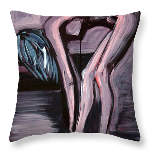 Art Throw Pillow featuring the painting Her Blue Shoes by Jarmo Korhonen aka Jarko