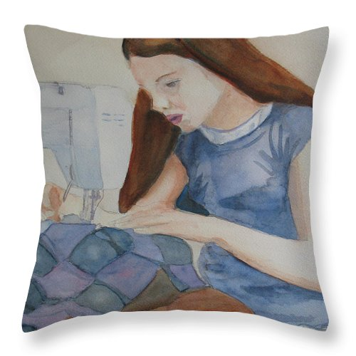 Girl Throw Pillow featuring the painting Her First Quilt by Jenny Armitage