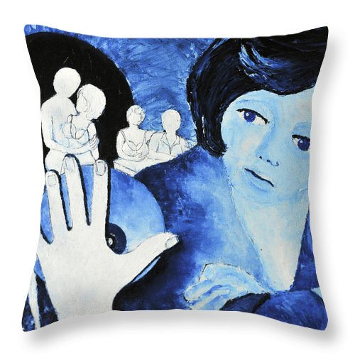 People Throw Pillow featuring the painting Her Ghosts Of The Past...always Past And Present... by Jose Alberto Gomes Pereira