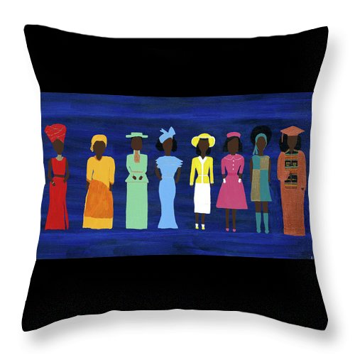 Black Throw Pillow featuring the painting Her Legacy II by Kafia Haile