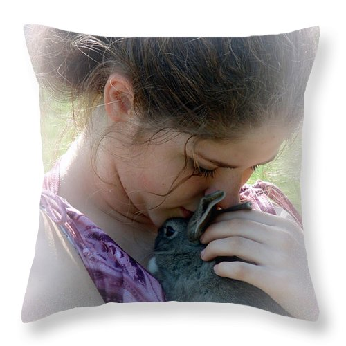 Rabbit Throw Pillow featuring the photograph Her Love by Gerry Tetz