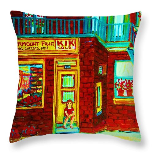 Fmontreal Throw Pillow featuring the painting Her Shopping List by Carole Spandau