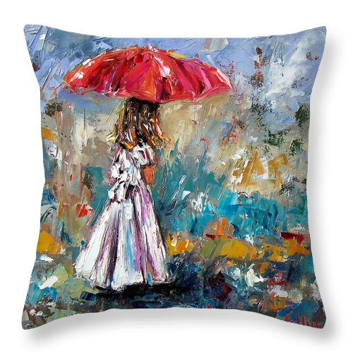 Children Art Throw Pillow featuring the painting Her White Dress by Debra Hurd