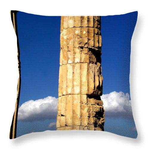 Cloud Throw Pillow featuring the photograph Hera Temple - Selinunte - Sicily by Silvia Ganora