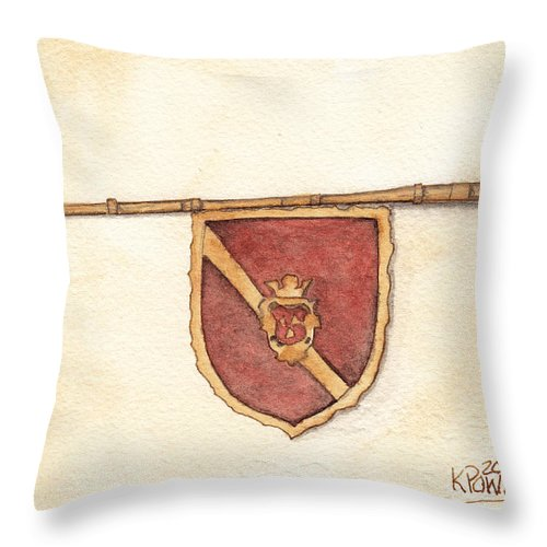Heraldry Throw Pillow featuring the painting Heraldry Trumpet by Ken Powers