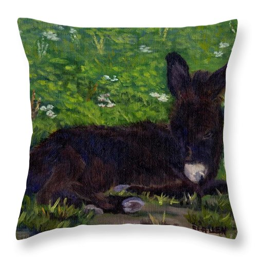 Donkey Throw Pillow featuring the painting Hercules by Sharon E Allen