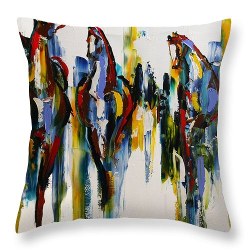 Horse Paintings Throw Pillow featuring the painting Herd Of Carousel Ponies by Laurie Pace