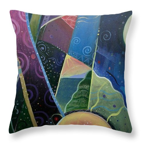 Multi-dimensional Throw Pillow featuring the painting Here And There by Helena Tiainen