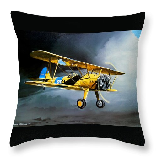 Military Throw Pillow featuring the painting Here Comes The Sun by Marc Stewart