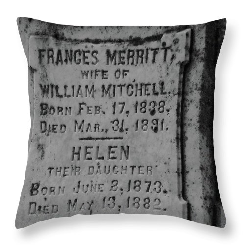 Headstone Throw Pillow featuring the photograph Here Lies Frances And Helen by Wild Thing