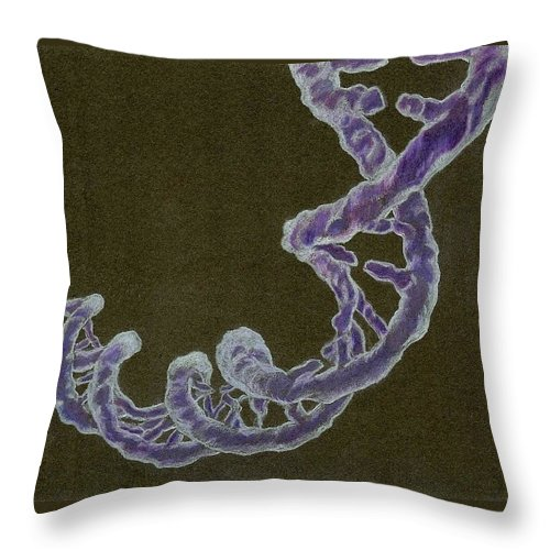 Dna Throw Pillow featuring the drawing Heredity by Jennie Richards