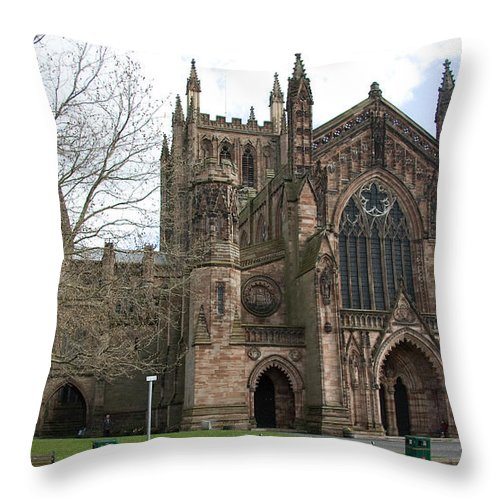 Cathedral Throw Pillow featuring the photograph Hereford Cathedral England by Bob Kemp