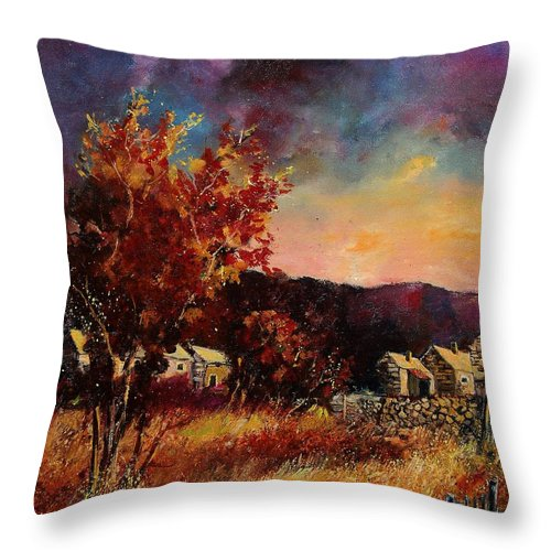Tree Throw Pillow featuring the painting Herhet by Pol Ledent