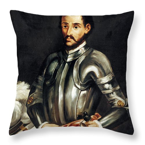 16th Century Throw Pillow featuring the painting Hernando De Soto by Granger