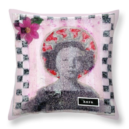 Pink Throw Pillow featuring the mixed media Hero by Desiree Paquette