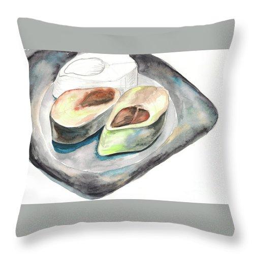 Herring Throw Pillow featuring the painting Herring by Yana Sadykova
