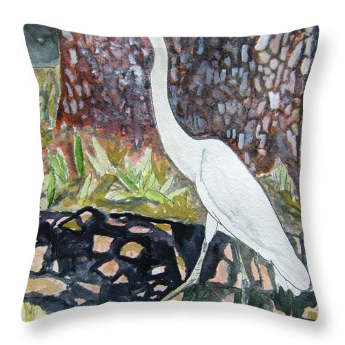 Bird Throw Pillow featuring the painting Herron by Derek Mccrea
