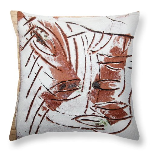 Jesus Throw Pillow featuring the ceramic art Hey - Tile by Gloria Ssali