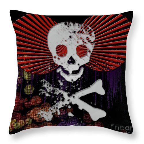 Skull Throw Pillow featuring the digital art Hey Bone Head by Ankeeta Bansal