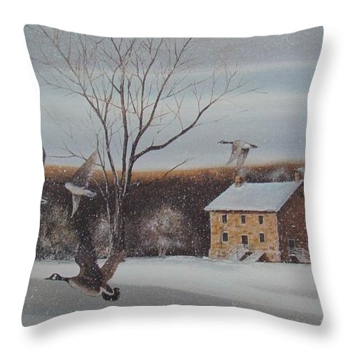 Charles Roy Smith Throw Pillow featuring the painting Hezakiah Alexander House by Charles Roy Smith
