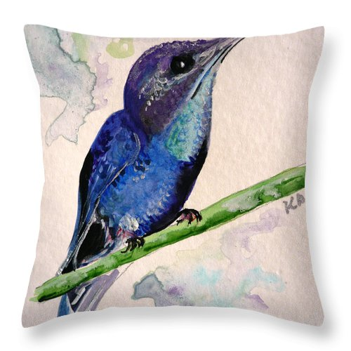 Hummingbird Painting Bird Painting Tropical Caribbean Painting Watercolor Painting Throw Pillow featuring the painting hHUMMINGBIRD 2  by Karin Dawn Kelshall- Best