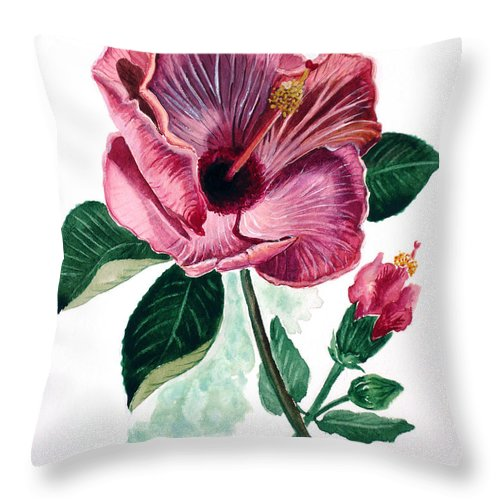Flora Painting L Hibiscus Painting Pink Flower Painting Greeting Card Painting Throw Pillow featuring the painting Hibiscus Dusky Rose by Karin Dawn Kelshall- Best