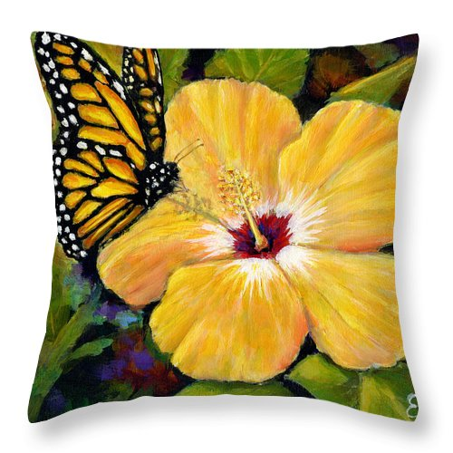 Butterfly Throw Pillow featuring the painting Hibiscus With Monarch by Eileen Fong