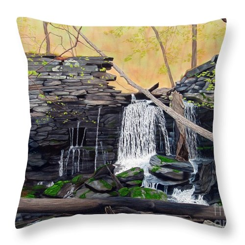 Waterfall Throw Pillow featuring the painting Hidden Sanctuary by Heidi Parmelee-Pratt