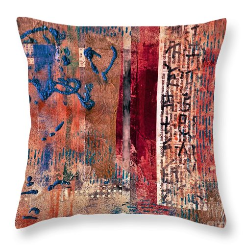 #allisonconstantino #abstract #contemporary #modern #collage Throw Pillow featuring the painting Hidden Agenda by Allison Constantino