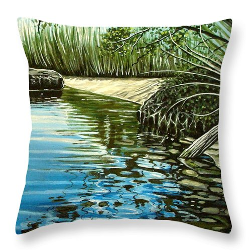 Nature Throw Pillow featuring the painting Hidden Beach by Elizabeth Robinette Tyndall