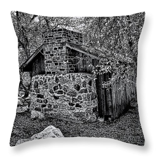California Throw Pillow featuring the photograph Hidden Cabin by Tommy Anderson