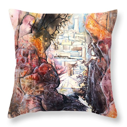 Art Throw Pillow featuring the painting Hidden City by Patricia Allingham Carlson