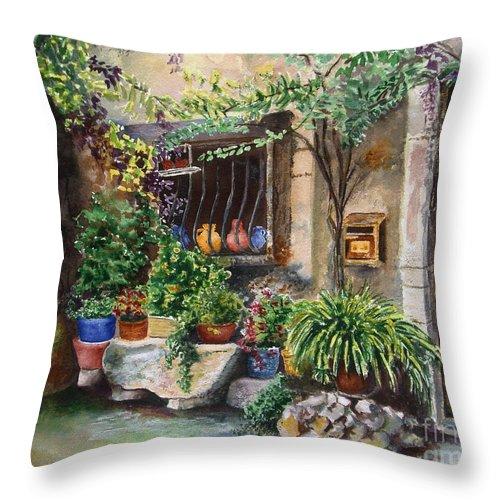 Courtyard Throw Pillow featuring the painting Hidden Courtyard by Karen Fleschler