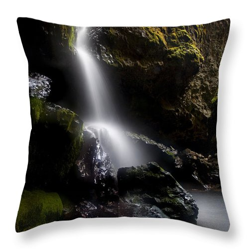 Waterfall Throw Pillow featuring the photograph Hidden Falls by Mike Dawson