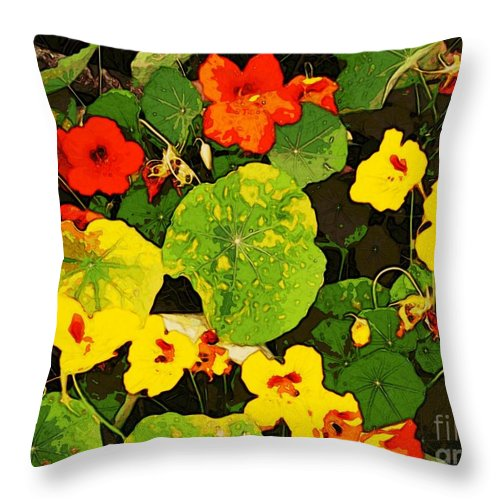 Orange Throw Pillow featuring the digital art Hidden Gems by Winsome Gunning