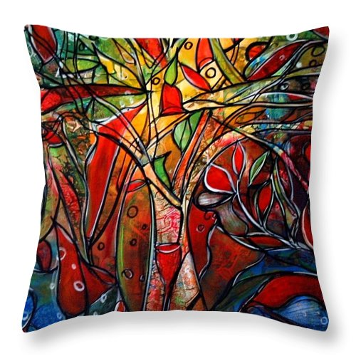 Landscape Throw Pillow featuring the painting Hidden Treasure by Luiza Vizoli