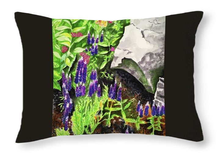 Landscape Throw Pillow featuring the painting Hidden Treasures by Judy Swerlick