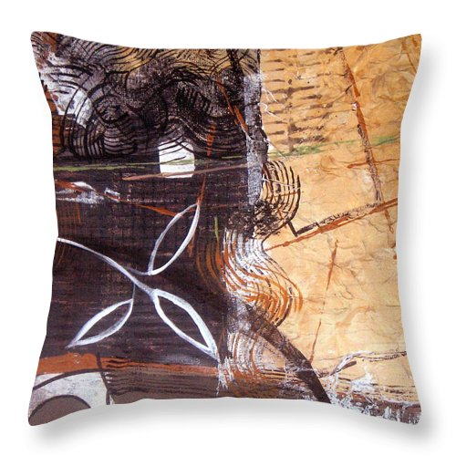 Abstract Throw Pillow featuring the painting Hidden Treasures by Ruth Palmer