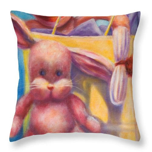 Children Throw Pillow featuring the painting Hide And Seek by Shannon Grissom
