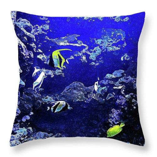 Aquarium Throw Pillow featuring the digital art Hiding Fish by Joan Minchak