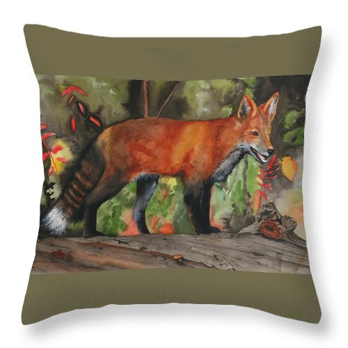 Fox Throw Pillow featuring the painting Hiding In Plain Sight by Jean Blackmer
