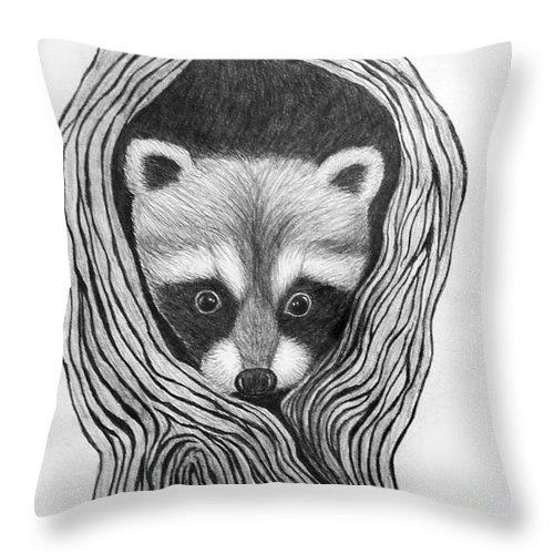 Raccoon Throw Pillow featuring the drawing Hiding Out by Nick Gustafson