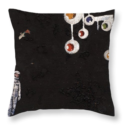 Spaceman Throw Pillow featuring the mixed media High Above Him There by Jaime Becker