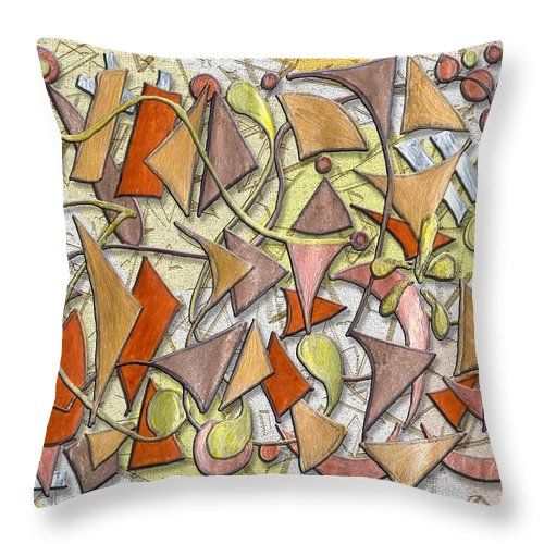 Abstract Autumn Leaf Leaves Shapes Season Fall Drawing Triangle Geometric Throw Pillow featuring the digital art High Autumn by Mark Sellers